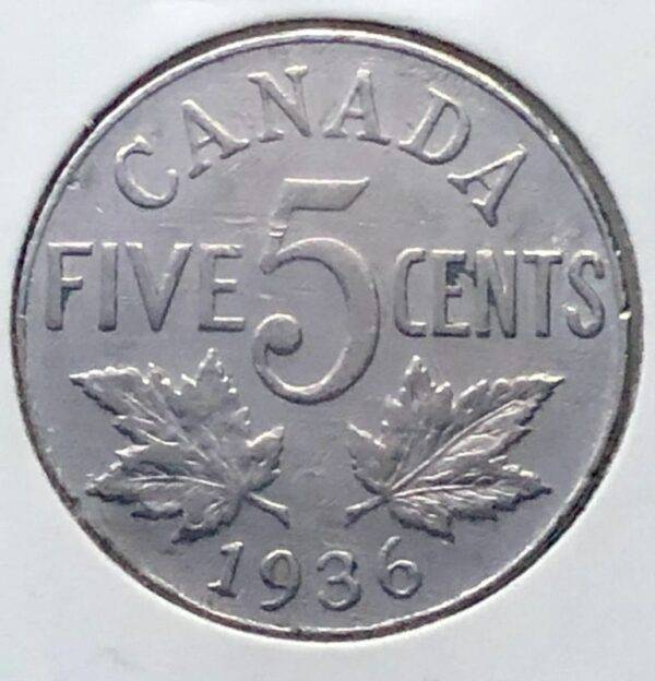 CANADA - 5 Cents 1936