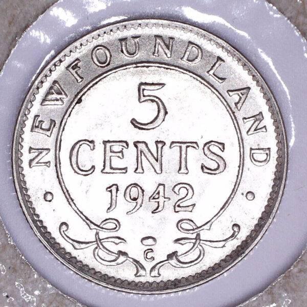CANADA - 5 Cents 1942-C - Terre-Neuve - AU-50