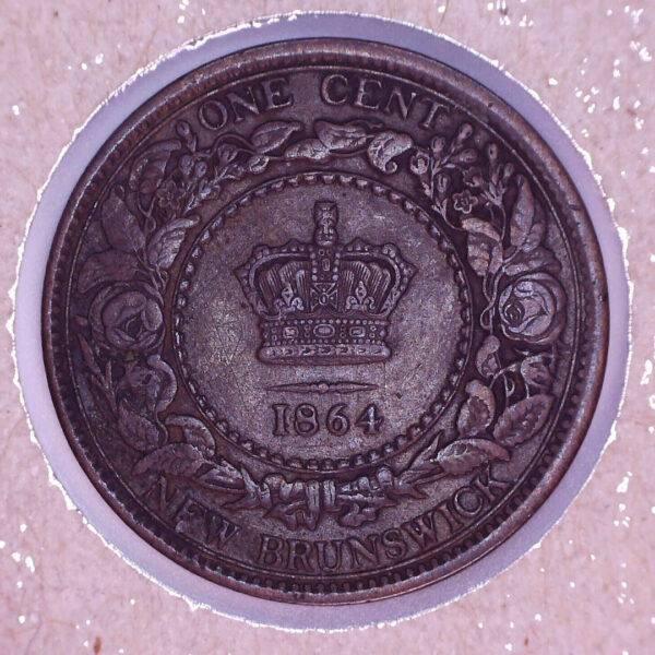 CANADA - 1 Cent 1864 - Small Six - Nouveau-Brunswick - VF-30