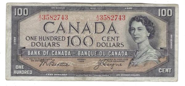 CANADA - Billet 100 Dollars 1954