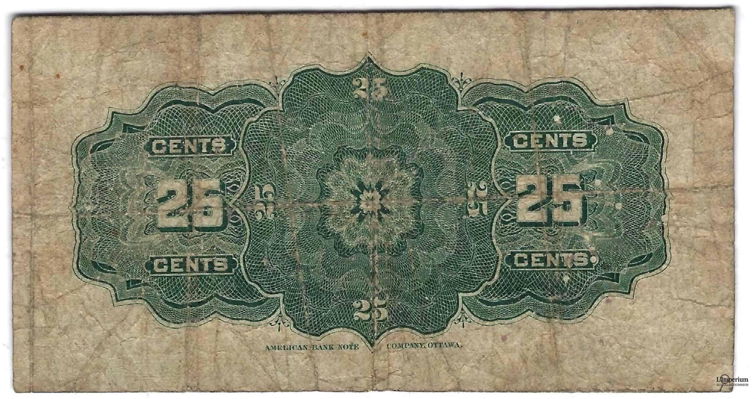 CANADA - Billet de 25 Cents 1900 - Courtney