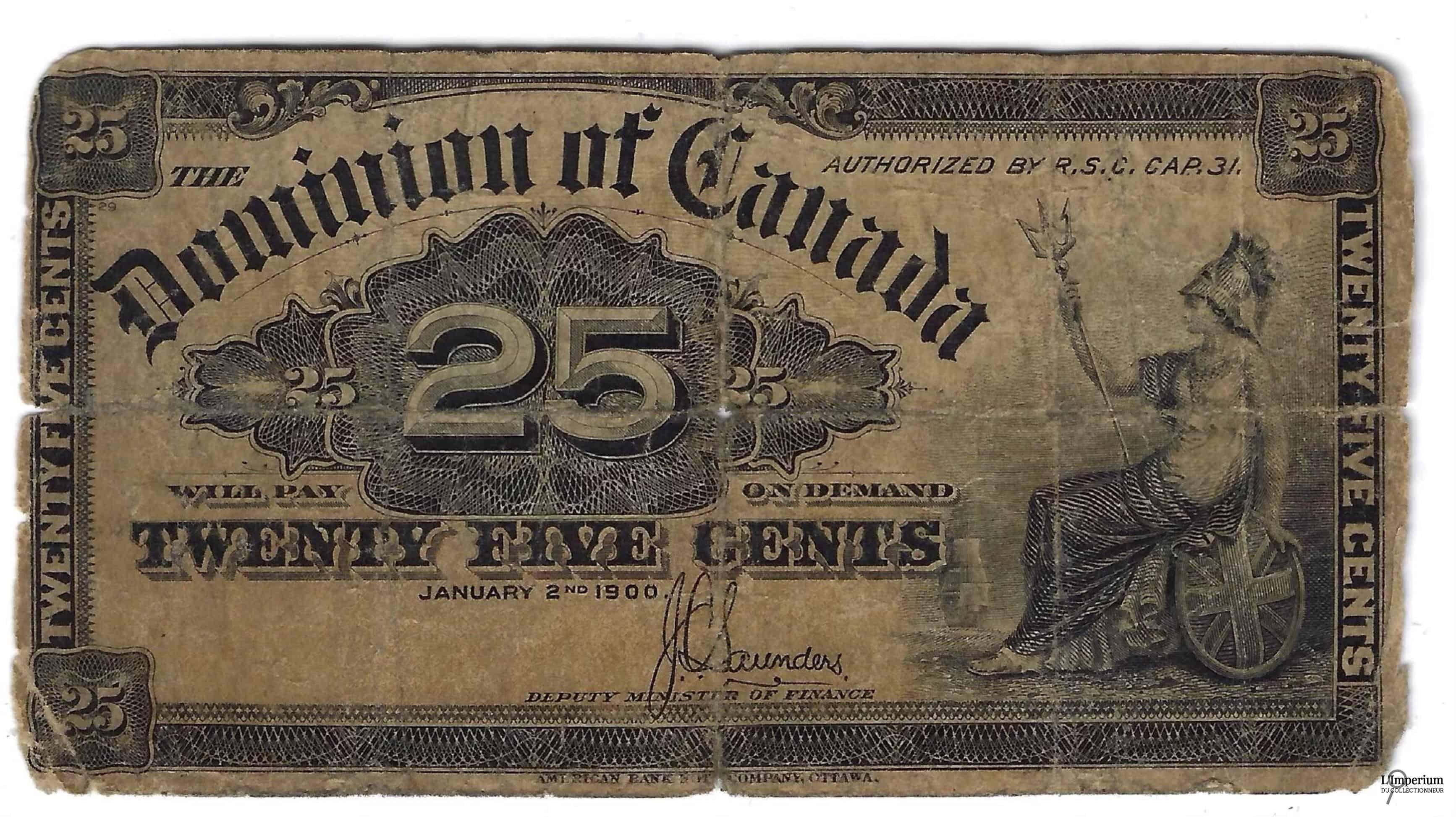 CANADA - Billet de 25 Cents 1900 - Saunders
