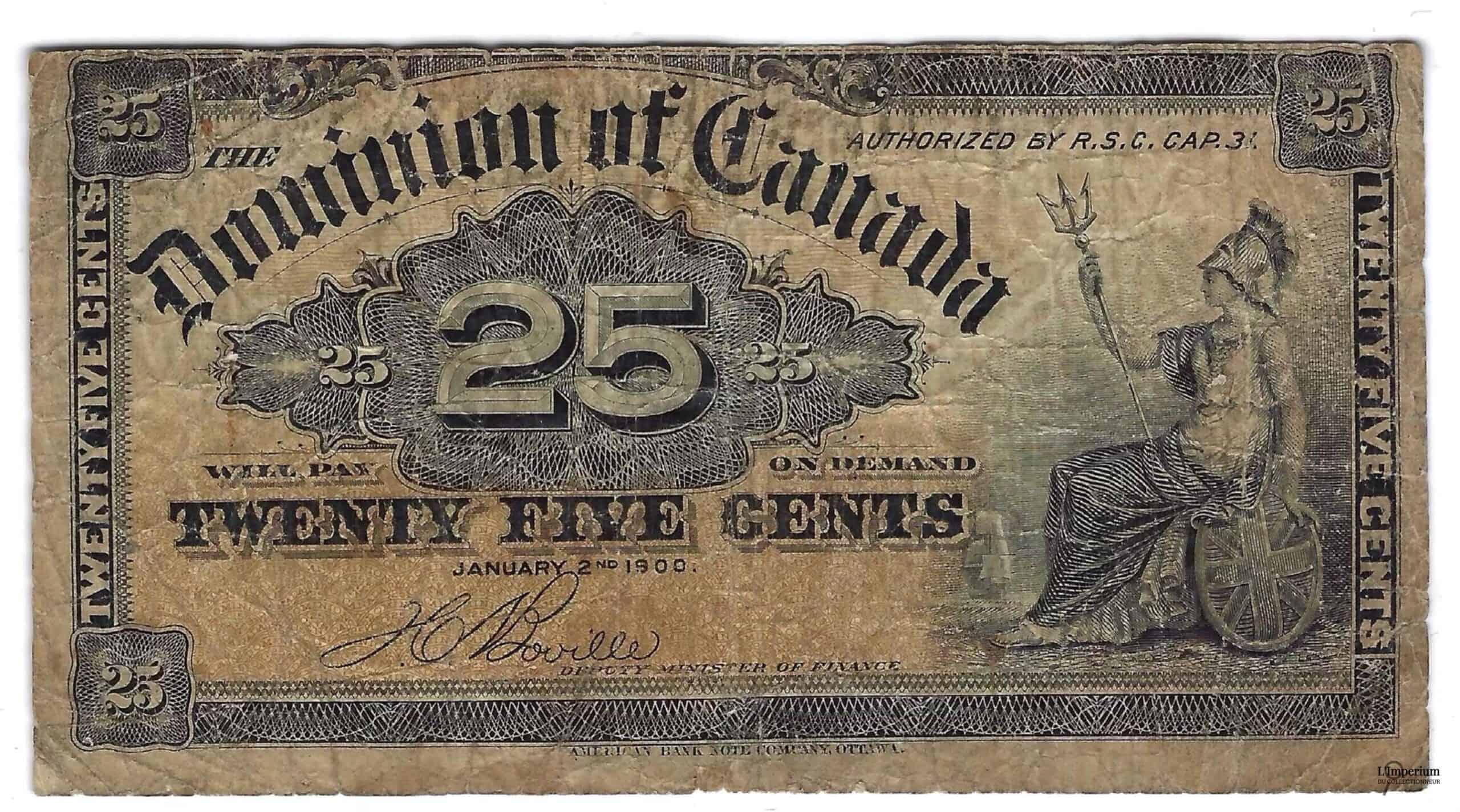CANADA - Billet de 25 Cents 1900 - Boville