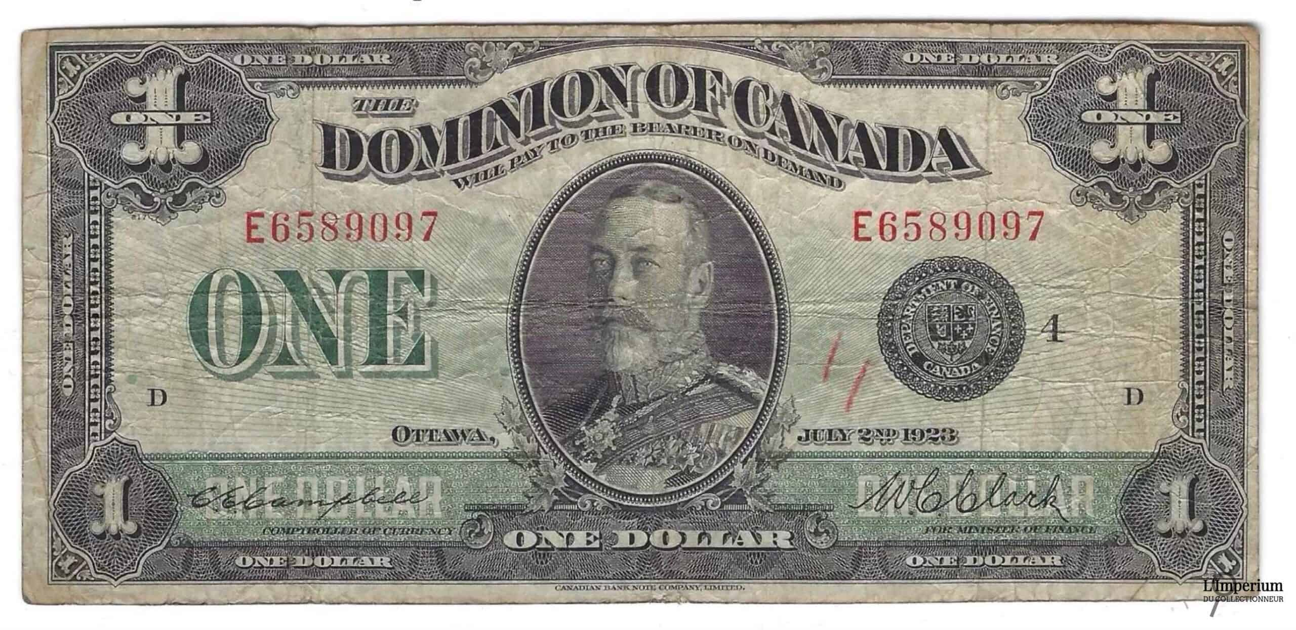 CANADA - Billet de 1 Dollar 1923 - Campbell/Clark