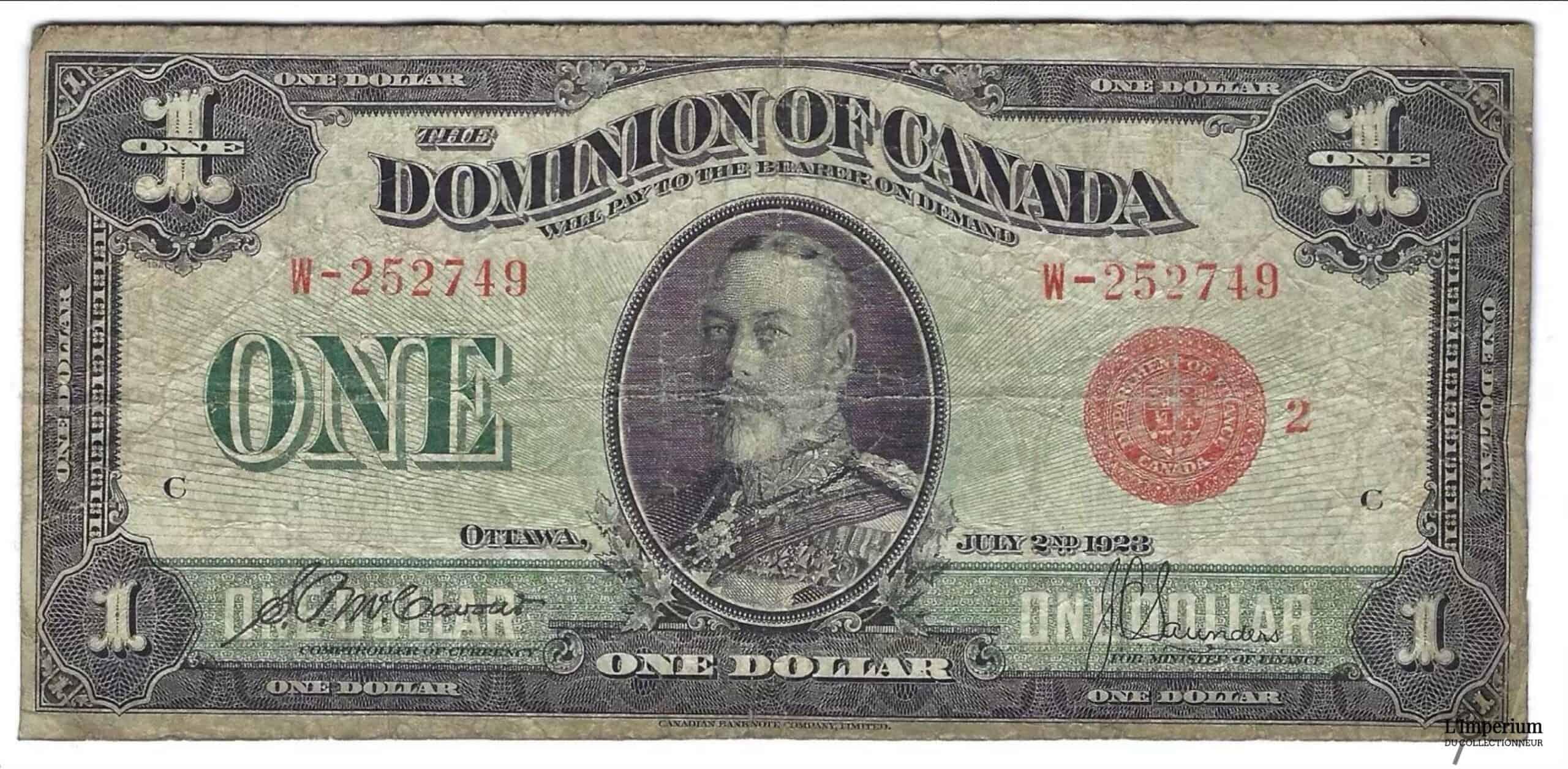 CANADA - Billet de 1 Dollar 1923 - McCavour/Saunders