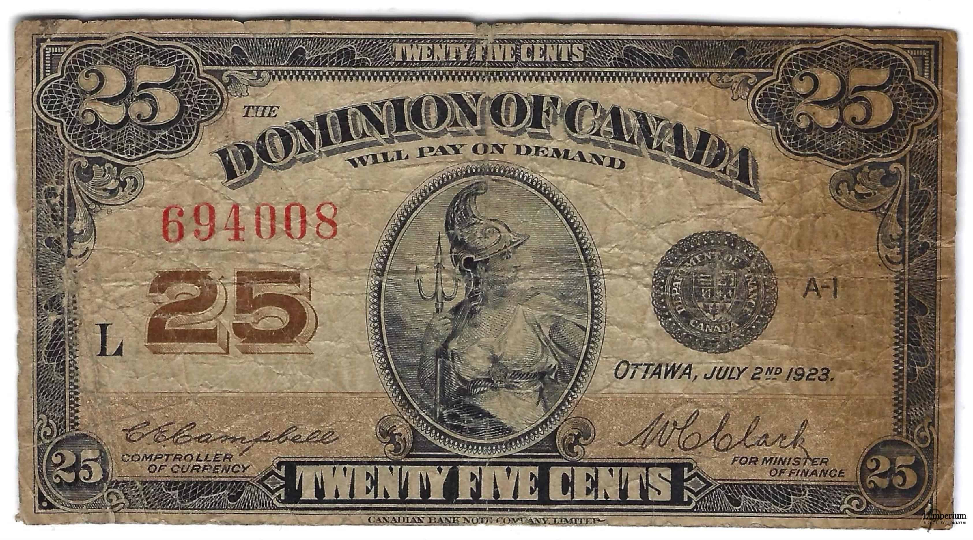 CANADA - Billet de 25 Cents 1923 - Campbell/Clark