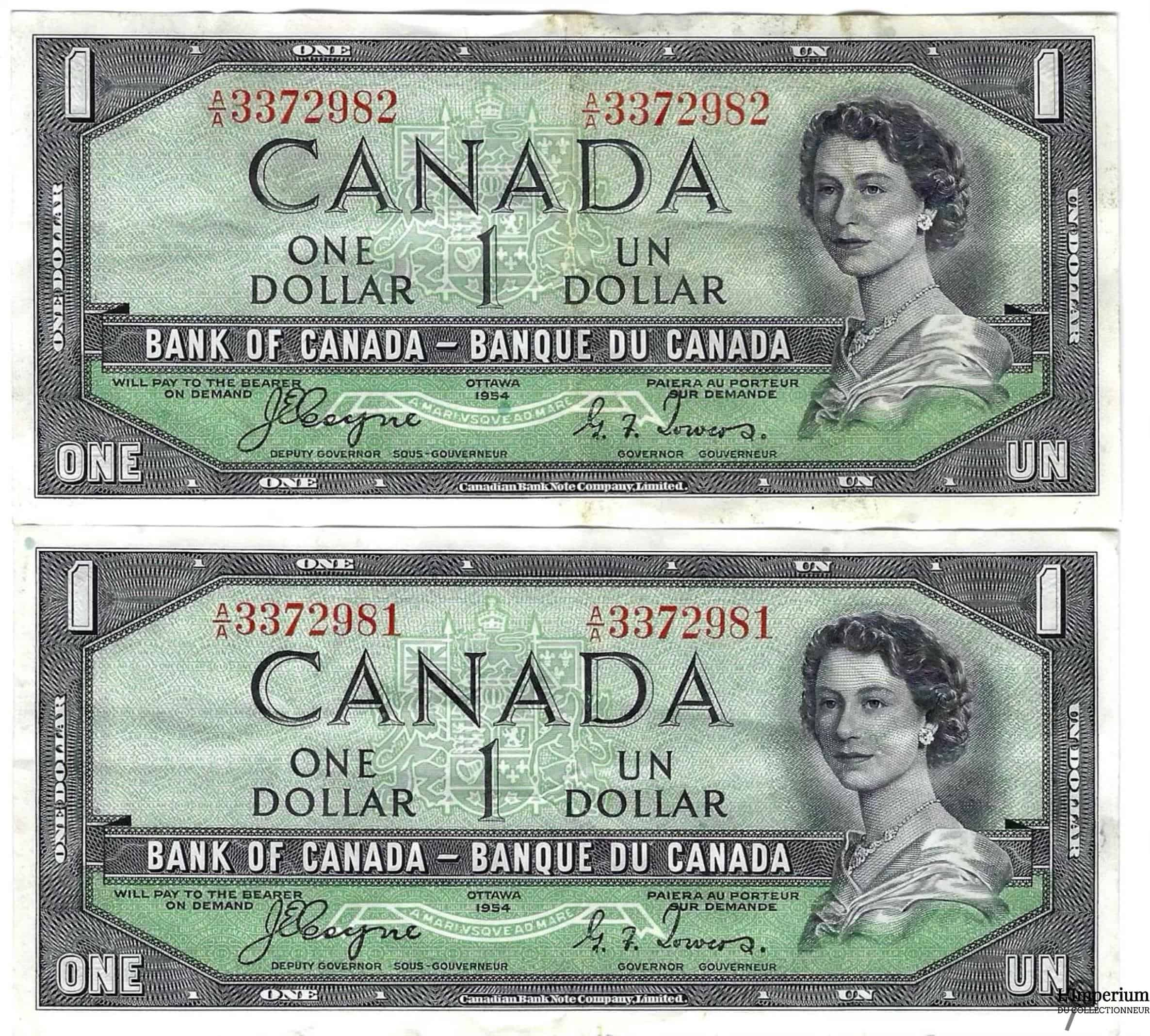 CANADA - Suite de 2 Billets d'un Dollar 1954 - Coyne/Towers - DEVIL'S FACE