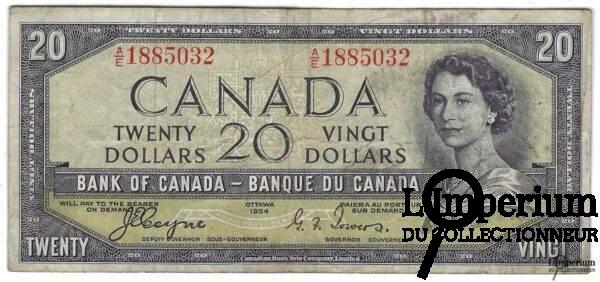 CANADA - 20 Dollars 1954 - Coyne-Towers - DEVIL'S FACE