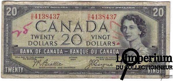 CANADA - 20 Dollars 1954 - Beattie-Coyne - DEVIL'S FACE