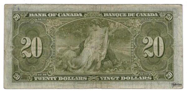 CANADA - Billet de 20 Dollars 1937 - Coyne/Towers